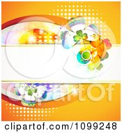 Clipart St Patricks Day Background Of Shamrocks On A Banner Over Orange With Halftone Royalty Free Vector Illustration
