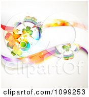Clipart Colorful St Patricks Day Background Of Shamrocks On A Wave Banner Royalty Free Vector Illustration