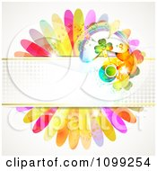 Clipart St Patricks Day Background Of Shamrocks On A Halftone Banner And Flower Petals Royalty Free Vector Illustration