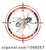 Clipart 3d House Fly In A Target Viewer Royalty Free Vector Illustration by merlinul