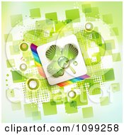 Clipart St Patricks Day Background Of A Dewy Shamrock In A Rainbow Square Over Green Squares Royalty Free Vector Illustration