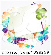 Clipart St Patricks Day Note With Rainbow And Green Shamrocks Royalty Free Vector Illustration