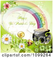 Clipart Happy St Patricks Day Greeting Under A Rainbow With A Pot Of Gold Flowers And Butterfly Royalty Free Vector Illustration