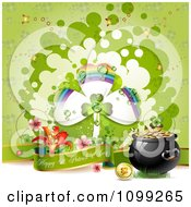 Clipart Happy St Patricks Day Greeting With A Pot Of Gold Flowers And Rainbow Shamrock Royalty Free Vector Illustration