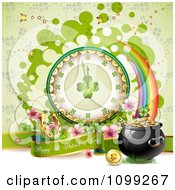 Clipart Happy St Patricks Day Greeting With A Pot Of Gold Rainbow And Shamrock Clock Royalty Free Vector Illustration