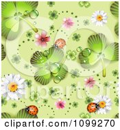 Clipart Seamless St Patricks Day Background Pattern Of Shamrocks Ladybugs Blossoms And Daisies Royalty Free Vector Illustration