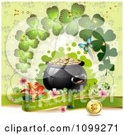 Clipart Happy St Patricks Day Greeting With A Pot Of Gold Butterflies And Shamrock Arch Royalty Free Vector Illustration
