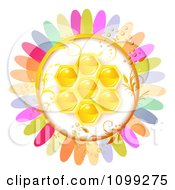 Clipart Colorful Flower With A Honey Comb Center Royalty Free Vector Illustration