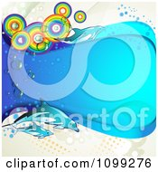 Clipart Background Of Dolphins With Rainbow Circles And A Blue Wave Over Dots Royalty Free Vector Illustration by merlinul