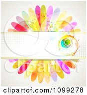 Clipart Background Of A Floral Orb And Halftone Banner Over Dewy Petals Royalty Free Vector Illustration