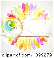 Clipart Background Of A Floral Sphere With A Haltone Banner Over Colorful Flower Petals Royalty Free Vector Illustration