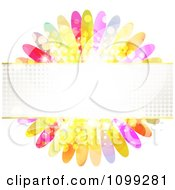 Clipart Background Of A Halftone Banner Over Colorful Flower Petals Royalty Free Vector Illustration