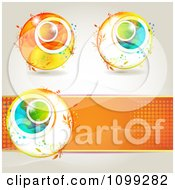 Clipart Three Spring Floral Orbs And An Orange Halftone Banne Royalty Free Vector Illustration