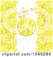 Clipart Background Of Lemon Slices And Bubbles Royalty Free Vector Illustration