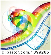 Clipart Rainbow Wave With Flares Over A Blue Film Strip With Bubbles Royalty Free Vector Illustration by merlinul