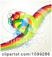 Clipart Background Of A Sparkly Rainbow Wave With Rings Bubbles And Flares Royalty Free Vector Illustration