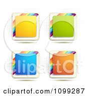 Yellow Green Blue Orange Square Icon Buttons With Rainbows Over Halftone