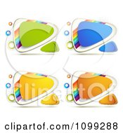 Yellow Green Blue Orange Triangular Icon Buttons With Rainbows Over Halftone