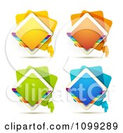 Clipart Yellow Green Blue Orange Diamond Icon Buttons With Rainbows Over Halftone Royalty Free Vector Illustration by merlinul