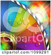 Clipart Background Of A Colorful Dewy Disc With Arrows Over Lights Royalty Free Vector Illustration