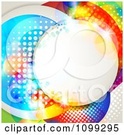 Clipart Background Of A Circular Frame With Dots Over Colorful Circles Royalty Free Vector Illustration