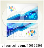 Clipart Two Blue And White Website Banners With Colorful Diamonds Royalty Free Vector Illustration by merlinul