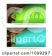 Clipart Two Green Blue And Gold Swirl Website Banners Royalty Free Vector Illustration