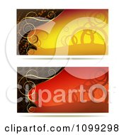 Clipart Two Yellow Red And Gold Swirl Website Banners Royalty Free Vector Illustration