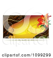 Clipart Yellow Lily Website Banner With Gold Swirls Royalty Free Vector Illustration