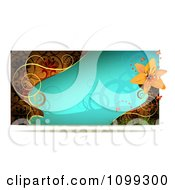 Clipart Turquoise Lily Website Banner With Gold Swirls Royalty Free Vector Illustration