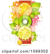 Vertical Row Of Orange Kiwi And Lemon Slices With Dots Leaves And Umbrellas