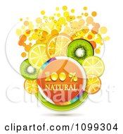 Clipart Orange Natural Circle With Orange Kiwi And Lemon Slices Over Dots Royalty Free Vector Illustration by merlinul