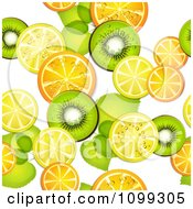 Clipart Seamless Background Pattern Of Orange Kiwi And Lemon Slices With Leaves Royalty Free Vector Illustration by merlinul