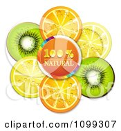 Clipart Orange Natural Circle With Orange Kiwi And Lemon Slices Royalty Free Vector Illustration by merlinul