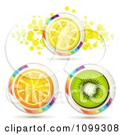 Clipart Orange Kiwi And Lemon Slice Icons With Rainbow Stripes And Dots Royalty Free Vector Illustration by merlinul