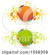 Clipart Orange And Green Circles With Rainbow Stripes And Dots Royalty Free Vector Illustration by merlinul