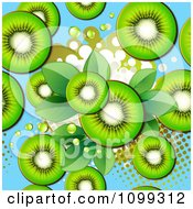 Seamless Background Of Kiwi Slices Over Blue With Halftone And Leaves