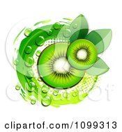 Background Of Kiwi Slices Over A Green Circle With Halftone And Dew