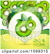 Clipart Background Of Kiwi Slices With A Natural Label 1 Royalty Free Vector Illustration by merlinul