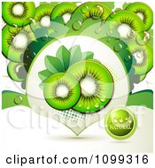 Clipart Background Of Kiwi Slices With A Natural Label 2 Royalty Free Vector Illustration by merlinul