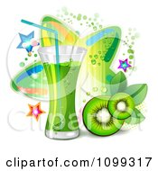 Clipart Kiwi Beverage With Slices And Colorful Stars Royalty Free Vector Illustration by merlinul