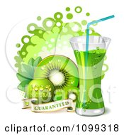 Clipart Kiwi Beverage With Slices Dots And A Natural Guarantee Royalty Free Vector Illustration by merlinul