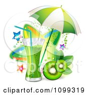 Clipart Kiwi Beverage With Slices An Umbrella And Colorful Stars Royalty Free Vector Illustration by merlinul