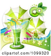 Clipart Kiwi Beverage With Slices A Colorful Star And Umbrellas Royalty Free Vector Illustration by merlinul
