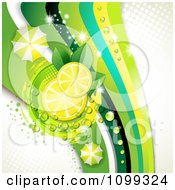 Clipart Background Of Lemon Slices With Dew Leaves Umbrellas And Green Waves With Gray Halftone Royalty Free Vector Illustration by merlinul