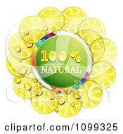 Clipart Circle Of Juicy Lemon Slices Around A Natural Icon Royalty Free Vector Illustration