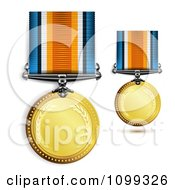 Clipart 3d Sports Achievement Gold First Place Award Medals On Ribbons Royalty Free Vector Illustration
