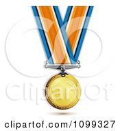Clipart 3d Sports Achievement Gold First Place Award Medal Hanging On A Ribbon Royalty Free Vector Illustration by merlinul