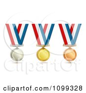 Clipart 3d Silver Gold And Bronze Award Medals On Red White And Blue Ribbons Royalty Free Vector Illustration by merlinul