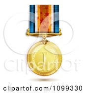 Clipart 3d Sports Achievement Gold First Place Award Medal On A Star Ribbon Royalty Free Vector Illustration by merlinul